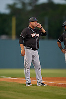 Jupiter Hammerheads manager Todd Pratt (54) during a Florida State League game against the Florida Fire Frogs on April 8, 2019 at Osceola County Stadium in Kissimmee, Florida.  Florida defeated Jupiter 7-6 in ten innings.  (Mike Janes/Four Seam Images)