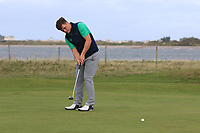 James Sugrue from Ireland on the 3rd green during Round 2 Singles of the Men's Home Internationals 2018 at Conwy Golf Club, Conwy, Wales on Thursday 13th September 2018.<br /> Picture: Thos Caffrey / Golffile<br /> <br /> All photo usage must carry mandatory copyright credit (&copy; Golffile | Thos Caffrey)