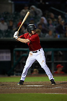 Inland Empire 66ers left fielder Brandon Sandoval (44) at bat during a California League game against the Lancaster JetHawks at San Manuel Stadium on May 18, 2018 in San Bernardino, California. Lancaster defeated Inland Empire 5-3. (Zachary Lucy/Four Seam Images)