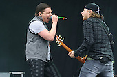 SHINEDOWN - vocalist Brent Smith and guitarist Jasin Todd - performing live on Day Three on the Lemmy Stage at Download Festival at Donington Park UK - 12 Jun 2016.  Photo credit: Zaine Lewis/IconicPix