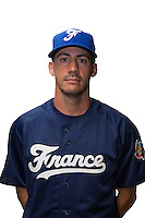 18 September 2012: Matthieu Brelle-Andrade poses prior to Team France practice, at the 2012 World Baseball Classic Qualifier round, in Jupiter, Florida, USA.