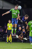 10th July 2020, Orlando, Florida, USA;  Seattle Sounders forward Jordan Morris (13) goes up for a header during the soccer match between the Seattle Sounders and the San Jose Earthquakes on July 10, 2020, at ESPN Wide World of Sports Complex in Orlando, FL.