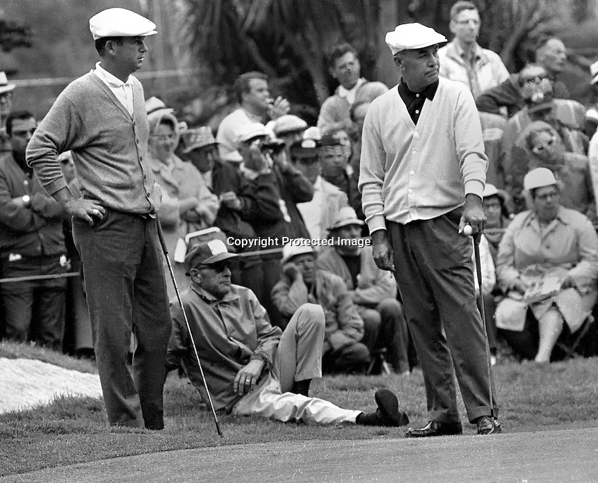Ken Venturi and Ben Hogan wait to hit during the 1966 U.S.Open Championship at the Olympic Club in San Francisco, Calif ornia. ( 1966 photo by Ron Riesterer)