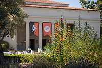 Occidental College's Thorne Hall, framed with flowers. Aug. 21, 2017.<br /> (Photo by Marc Campos, Occidental College Photographer)