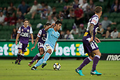 9th January 2018, nib Stadium, Perth, Australia; A League football, Perth Glory versus Melbourne City; Daniel Arzani Melbourne City midfielder weaves his way through the Perth Glory defenders during the first half