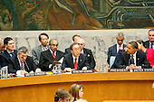 New York, NY - September 24, 2009 -- United Nations Secretary-General Ban Ki-moon (centre) addresses the Security Council Summit on nuclear non-proliferation and disarmament. Chaired by Barack Obama (right), President of the United States of America, the Summit unanimously adopted resolution 1887 (2009), expressing the Security Council's resolve to create the conditions for a world without nuclear weapons at U.N. Headquarters in New York, New York on Thursday, September 24, 2009..Mandatory Credit: UN Photo/Mark Garten via CNP