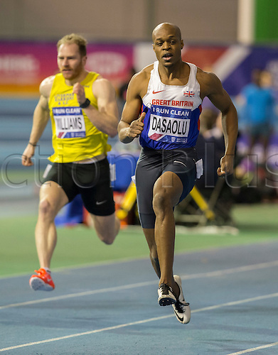 27.02.2016. EIS Sheffield, Sheffield, England. British Indoor Athletics Championships Day One. James Dasaolu (Croydon) comfortably wins the Men's 60m Semi-Finals (Heat 2).
