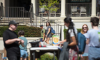 Students in the Academic Quad, March 28, 2018.<br /> (Photo by Marc Campos, Occidental College Photographer)