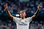 Mariano Diaz Mejia of Real Madrid celebrates after scoring his goal during the UEFA Champions League 2018-19 match between Real Madrid and Roma at Estadio Santiago Bernabeu on September 19 2018 in Madrid, Spain. Photo by Diego Souto / Power Sport Images