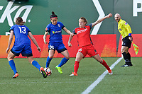 Portland, OR - Saturday May 06, 2017: Nahomi Kawasumi, Emily Sonnett during a regular season National Women's Soccer League (NWSL) match between the Portland Thorns FC and the Seattle Reign FC at Providence Park.