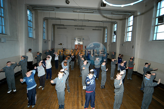 The pupils of Congress Avenue school who took part in the Lung Ying Dragon Sign Shaolin martial arts classes sponsored by Drogheda Concentrates Photo: Colin Bell / Newsfile