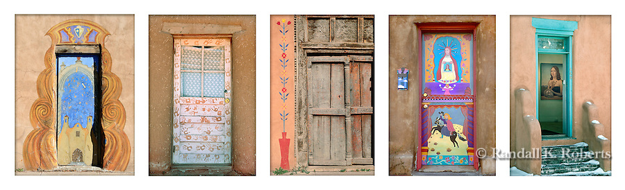 Decorated and painted doors of New Mexico.  Available as one print, as shown.