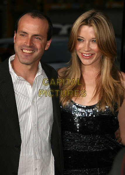 "D.J. CARUSO & SARAH ROEMER.""Disturbia"" Los Angeles Premiere at Grauman's Chinese Theatre, Hollywood, California, USA..April 4th, 2007.half length white black sequins sequined.CAP/ADM/BP.©Byron Purvis/AdMedia/Capital Pictures"