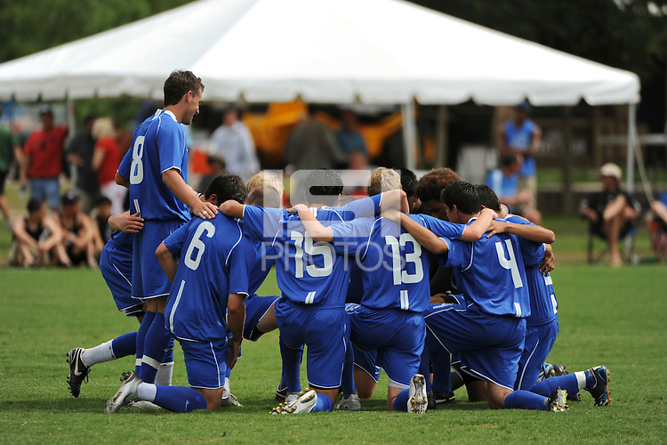 The Academy Select Team huddles before the game.  The US U-17 Men's National Team defeated the Development Academy Select Team 5-3 during day two of the US Soccer Development Academy  Spring Showcase in Sarasota, FL, on May 23, 2009.