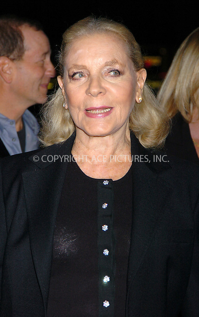 WWW.ACEPIXS.COM . . . . .  ....NEW YORK, OCTOBER 26, 2004....Lauren Bacall attends the NYC premiere of Birth.....Please byline: AJ Sokalner - ACE PICTURES..... *** ***..Ace Pictures, Inc:  ..Alecsey Boldeskul (646) 267-6913 ..Philip Vaughan (646) 769-0430..e-mail: info@acepixs.com..web: http://www.acepixs.com