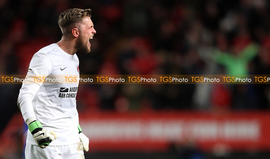 Charlton goalkeeper Ben Hamer celebrates - Charlton Athletic vs Cardiff City, nPower Championship at the Valley, Charlton - 06/11/12 - MANDATORY CREDIT: Rob Newell/TGSPHOTO - Self billing applies where appropriate - 0845 094 6026 - contact@tgsphoto.co.uk - NO UNPAID USE.