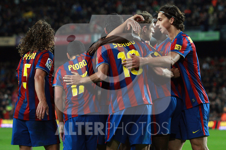 Football Season 2009-2010. Barcelona's player Zlatan Ibrahimovic celebrating Pedro Rodriguez second goal during the Spanish first division soccer match at Camp Nou stadium in Barcelona November 07, 2009.