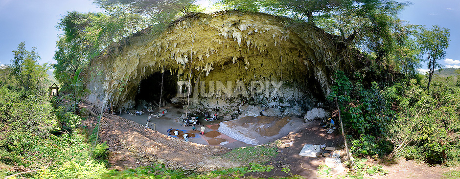 Panoramic view of Liang Bua Cave, discovery site of the Flores hobbit, Homo floresiensis.