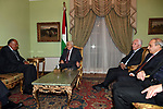 Palestinian President Mahmoud Abbas meets with Egyptian Foreign Minister Sameh Shoukry in Cairo, Egypt, on July 8, 2017. Photo by Thaer Ganaim