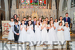St John's NS, Kenmare pupils from Ms Fiona O'Connor's class who made their First Holy Communion on Saturday in the Holy Cross Church, Kenmare were Rafal Cichecki, Cillian Daly, Ronan Hickey, Fabian Kopytowski, Ben O'Callaghan, Mark O'Regan, Jack O'Sullivan, Anan Cornide, Tara Cronin, Orna Doyle, Wiktoria Jagielska, Emily McCloskey, Ríona Nic Gearailt, Jessica O'Sullivan, Oriana Pautrel, Ciara Staunch and Emma Ziegenfuss with principal Denis Courtney. Also making their communion on the day were Oriana's sister Coralie and Alizee Pautrell.