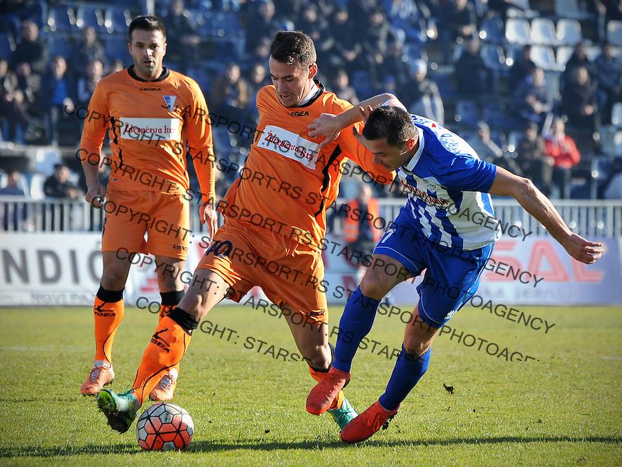 Fudbal Jelen Super League season 2016-2017<br /> Novi Pazar v Spartak<br /> Enver Alivodic (D) i Nemanja Calasan (L)<br /> Novi Pazar, 4. 12. 2016<br /> foto: Emir Sadovic/Starsportphoto &copy;