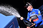 Rohan Dennis (AUS) BMC Racing Team wears race leaders Maglia Azzurra at the end of Stage 3 of the 2017 Tirreno Adriatico running 204km from Monterotondo Marittimo to Montalto di Castro, Italy. 10th March 2017.<br /> Picture: La Presse/Gian Mattia D'Alberto | Cyclefile<br /> <br /> <br /> All photos usage must carry mandatory copyright credit (&copy; Cyclefile | La Presse)