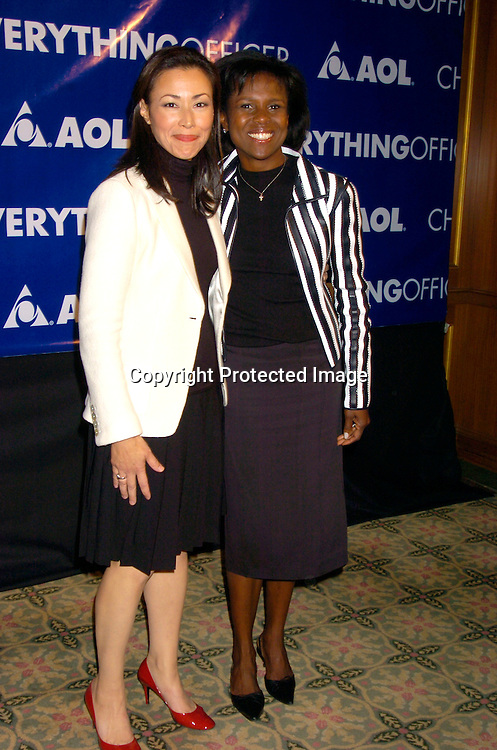 "Ann Curry and Deborah Roberts ..at the America Online's First "" Chief Everything Officer"" Award on September 28, 2004 at the Pierre Hotel, which honored Maria Shriver. ..Photo by Robin Platzer, Twin Images .."