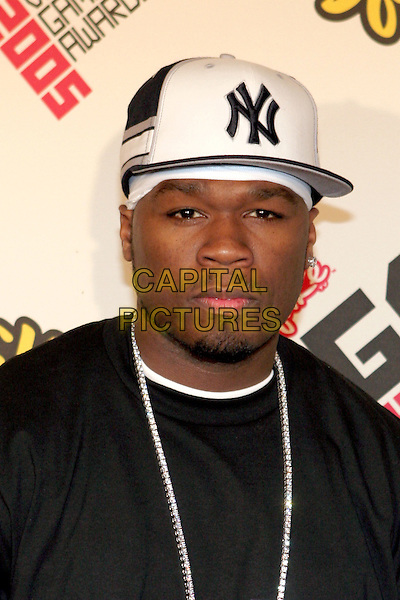 50 CENT - CURTIS JACKSON.2005 Spike TV Video Game Awards - Arrivals held at the Gibson Amphitheater, Universal City, California..November 18th, 2005.Photo: Zach Lipp/AdMedia/Capital Pictures.Ref: Zl/ADM.headshot portrait NY baseball cap hat goatee facial hair.www.capitalpictures.com.sales@capitalpictures.com.© Capital Pictures.