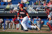 Batavia Muckdogs first baseman Brad Haynal (23) at bat during a game against the Auburn Doubledays July 10, 2015 at Dwyer Stadium in Batavia, New York.  Auburn defeated Batavia 13-1.  (Mike Janes/Four Seam Images)
