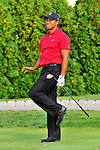 30 August 2009: Tiger Woods reacts to his tee shot during the final round of The Barclays PGA Playoffs at Liberty National Golf Course in Jersey City, New Jersey.