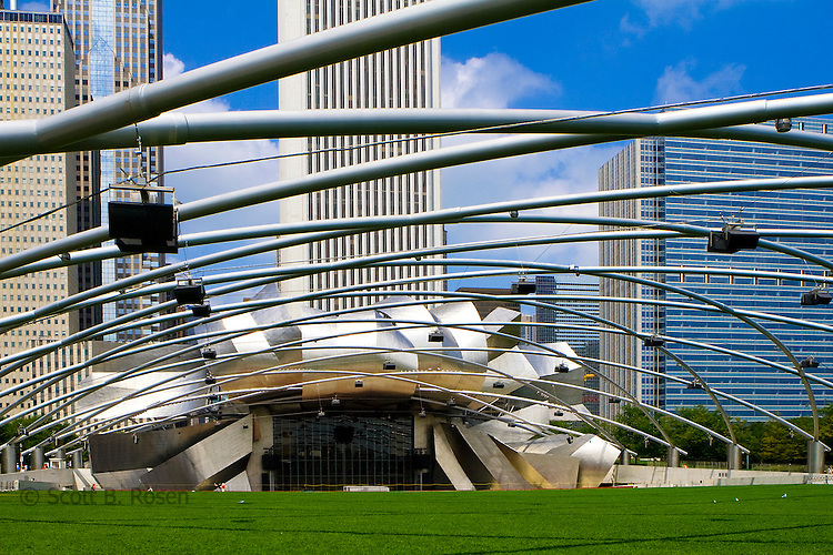 Jay Pritzker Pavilion, Millennium Park, Chicago, Illinois, designed by National Medal of Art winner Frank Gehry.