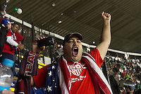 USA fan Doug Morales cheers after the USA tied Mexico in a World Cup Qualifier at Azteca stadium in Mexico City, Mexico on March 26, 2013.