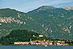 Bellagio, Italy as seen from across the lake with the Italian Alps in the background