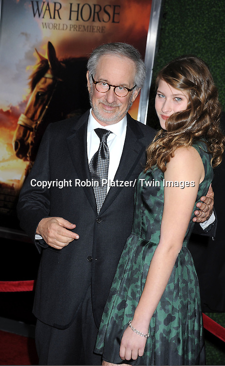 """Steven Spielberg and daughter Destry attend  the world premiere of """"War Horse"""" on December 4, 2011 at Avery Fisher Hall in New York City."""