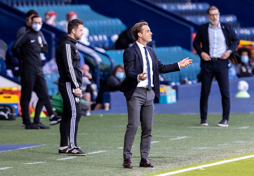 Fulham's manager Scott Parker (centre) gestures <br /> <br /> Photographer Andrew Kearns/CameraSport<br /> <br /> The EFL Sky Bet Championship - West Bromwich Albion v Fulham - Tuesday July 14th 2020 - The Hawthorns - West Bromwich <br /> <br /> World Copyright © 2020 CameraSport. All rights reserved. 43 Linden Ave. Countesthorpe. Leicester. England. LE8 5PG - Tel: +44 (0) 116 277 4147 - admin@camerasport.com - www.camerasport.com