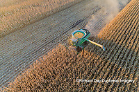63801-12718 Harvesting corn in fall-aerial  Marion Co. IL