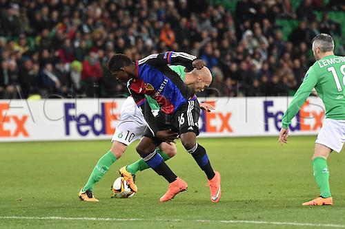 18.02.2016. Saint Etienne, France. UEFA Europa League. Saint Etienne versus FC Basel.  Renaud Cohade (saint etienne) vs Breel Embolo (FC Basel )
