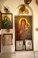 Madonna, Virgin Mary, Icons Interior of the the  17th Century Byzantine Greek Orthodox Monastery of Agia Anna ( St Anne) 17th Century
