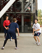 John Carlson (US - 6), Matt Donovan (US - 7), Chris Kreider (US - 15) - Team USA warms up outside the rinks prior to their fourth game against Team Russia during the 2009 USA Hockey National Junior Evaluation Camp on Saturday, August 15, 2009, in Lake Placid, New York.