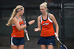 April 23, 2015; San Diego, CA, USA; Pepperdine Waves tennis players Christine Maddox (left) and Matea Cutura (right) during the WCC Tennis Championships at Barnes Tennis Center.