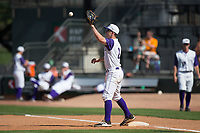 Winston-Salem Dash first baseman Toby Thomas (2) waits for a throw during the game against the Buies Creek Astros at BB&T Ballpark on April 16, 2017 in Winston-Salem, North Carolina.  The Dash defeated the Astros 6-2.  (Brian Westerholt/Four Seam Images)