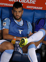 Calcio, Serie A: Lazio vs Bologna. Roma, stadio Olimpico, 22 agosto 2015.<br /> Lazio&rsquo;s Felipe Anderson sits on the bench during the Italian Serie A football match between Lazio and Bologna at Rome's Olympic stadium, 22 August 2015.<br /> UPDATE IMAGES PRESS/Isabella Bonotto