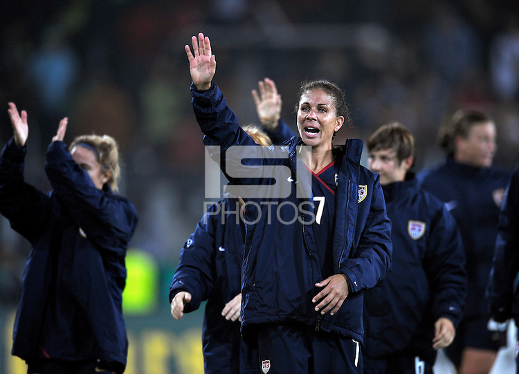 Shannon Boxx after the game. US Women's National Team defeated Germany 1-0 at Impuls Arena in Augsburg, Germany on October 27, 2009.