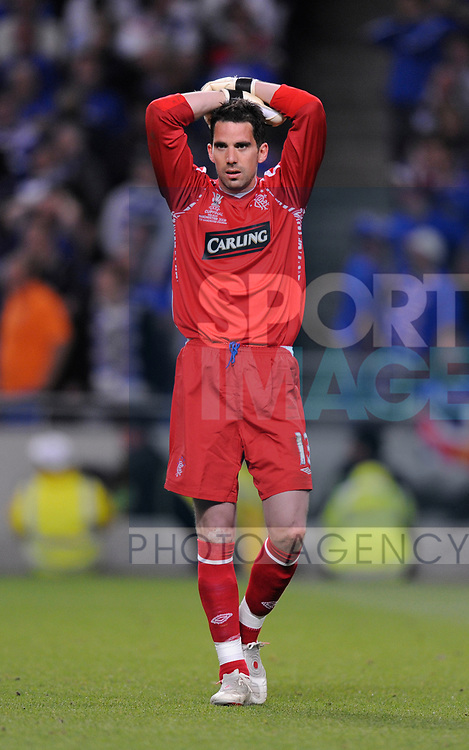 Allan McGregor of Rangers dejected during the Europa League Final match at The Etihad Stadium, Manchester. Picture date 14th May 2008. Picture credit should read: Simon Bellis/Sportimage