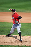 Indianapolis Indians pitcher Casey Sadler (45) delivers a pitch during a game against the Rochester Red Wings on June 10, 2015 at Frontier Field in Rochester, New York.  Indianapolis defeated Rochester 5-3.  (Mike Janes/Four Seam Images)