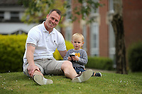 Newport County manager Mike Flynn with his son at the Coldra Court Hotel in Newport, Wales, UK. Wednesday 04 May 2017