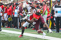 College Park, MD - September 22, 2018:  Maryland Terrapins defensive back RaVon Davis (2) breaks up a pass during the game between Minnesota and Maryland at  Capital One Field at Maryland Stadium in College Park, MD.  (Photo by Elliott Brown/Media Images International)