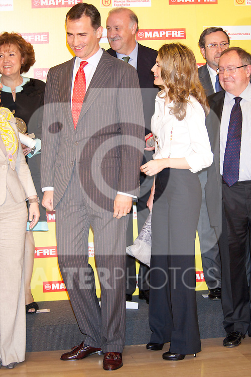 "MADRID / SPAIN 03-05-11 - Prince Felipe of Spain and Princess Letizia of Spain attends the Accreditation ceremony of the 4 th Promotion of ""Honorary Ambassadors Spain Brand"" at Mapfre Foundation in Madrid.© ALFAQUI FOTOGRAFIA"