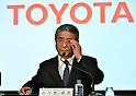 February 3, 2015, Tokyo, Japan - Managing Officer Takuo Sasaki of Japan's Toyota Motor Corp., announces its fiscal third-quarter earnings during a news conferernce at its head office in Tokyo on Wednesday, February 3, 3014. The worlds best-selling auto maker raised its group net profit outlook to a record 2.13 trillion yen for the current fiscal year through March , a 16.8 percent rise from the previous fiscal year, due to a weaker-than-expected yen.  (Photo by Natsuki Sakai/AFLO)
