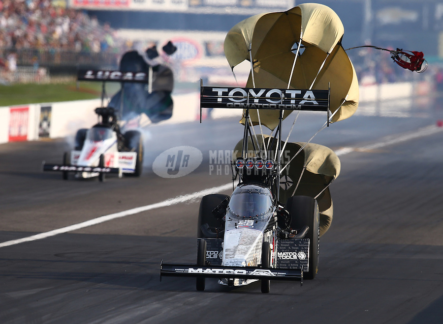 Sep 5, 2015; Clermont, IN, USA; NHRA top fuel driver Antron Brown during qualifying for the US Nationals at Lucas Oil Raceway. Mandatory Credit: Mark J. Rebilas-USA TODAY Sports